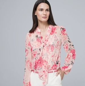 WHBM Pink Floral Convertible Blouse with Neck Tie